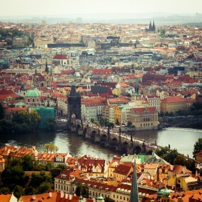 Looking down onto Charles Bridge