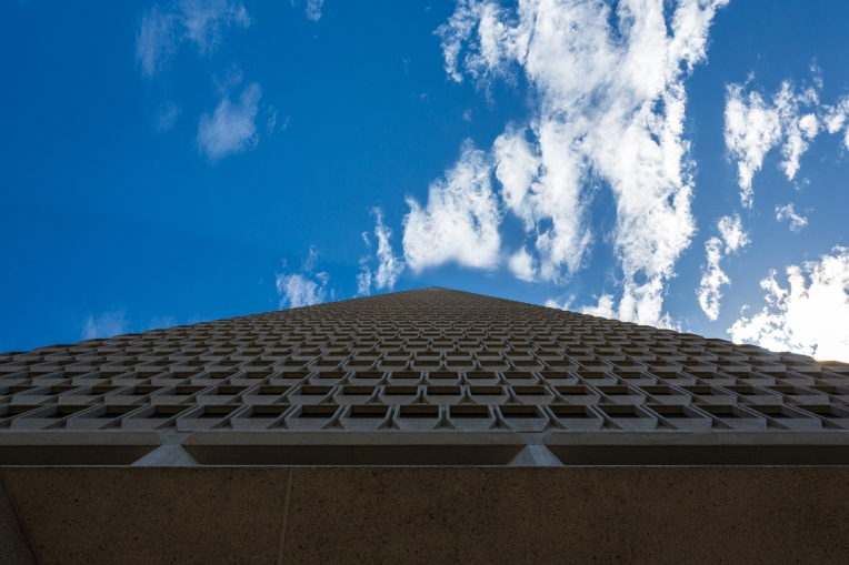 Transamerica Building; standing at the base it looks like it reaches to infinity.